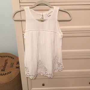Anthropologie sleeveless white blouse